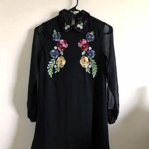 Asos Petite Long Sleeve dress with Embellishments